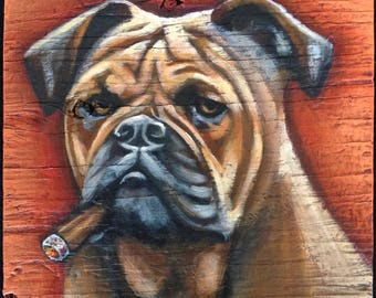 American Bulldog Painting on Weathered Plywood