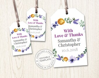 Mini wedding tags, bridal shower favors custom tags, personalized favor, labels by the sheet, editable floral gift tags, DIGITAL