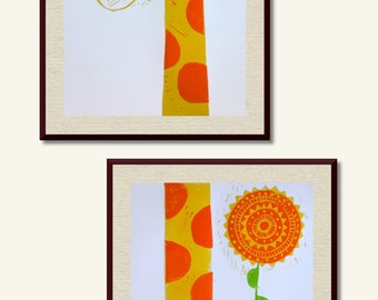 Double Giraffe A3 Lino Print