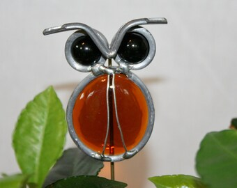 Stained Glass Amber Owl Plant Stake