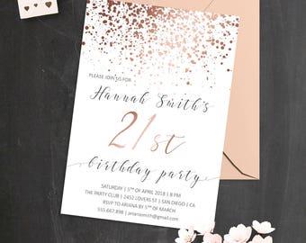 21st Birthday Invitations Rose Gold Invite Elegant