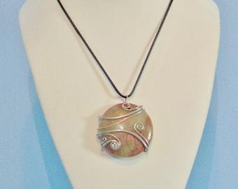 Rhodonite Spiral Silver Pendant Necklace