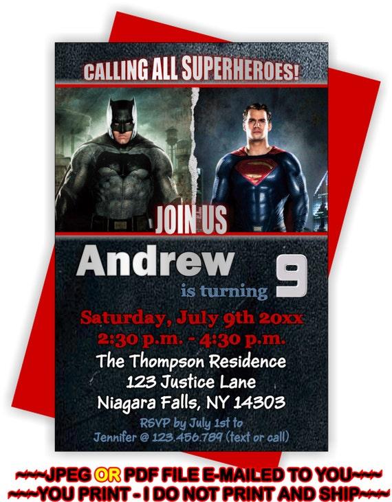 Batman Invite Superman Invite Batman vs Superman Birthday
