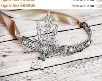 ON SALE Jeweled Bridal Hair Piece; Boho Chic Bridal Headband; Rustic Wedding Hair Jewelry; Bridesmaid Headband; Flower Girl Headband