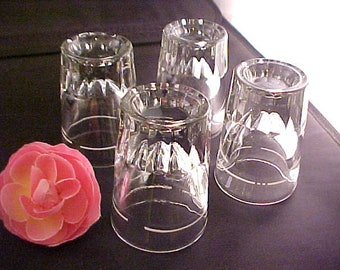 Vintage Libbey Clear Whiskey Shot Glass Set of 4, Collectible Heavy Barware Shooters With Thick Shams and White Enamel Fill Line