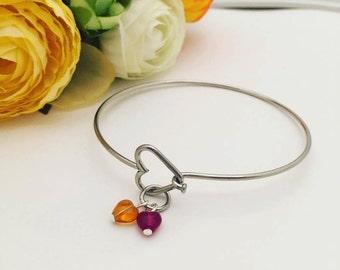 Stainless Steel Heart Bangle Bracelet - Personalized Birthstone Bracelet - Heart Birthstone - Mother's Bracelet with Birthstones