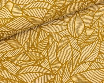 Furnishing fabric jungle leaves ochre on nature (7.50 EUR/meter)