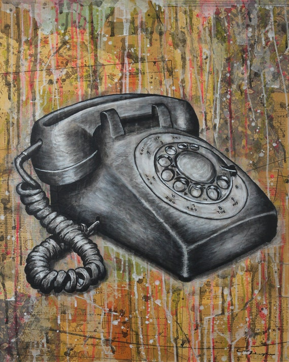 8 x 10 GICLEE print - Téléphone à cadran - vintage telephone mixed media painting by Cindy Labrecque, open edition.