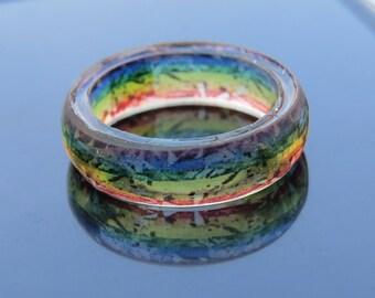 Gay Wedding Bands, Gay pride ring, Gay ring, Multicolor Rainbow ring, Hypoallergenic,Rainbow Wedding,LGBT Pride jewelry,Lesbian wedding gift