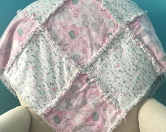 Pink and Gray Rag Quilt / Flannel Baby Girl  Quilt / Crib Rag Quilt