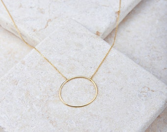 Circle Hole Necklace - White gold/ Rose gold/ Yellow gold plated dainty