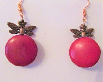 Red Earrings, Christmas Earrings, Xmas Earrings, Dragonfly Earrings