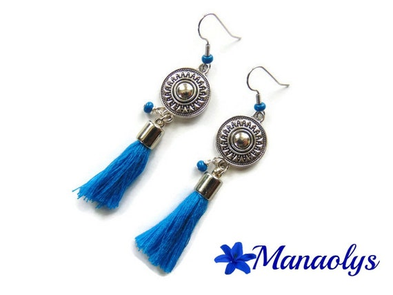 Bohemian, boho earrings, blue tassels, beads, ethnic, dangling silver