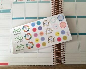 Sweary planner stickers