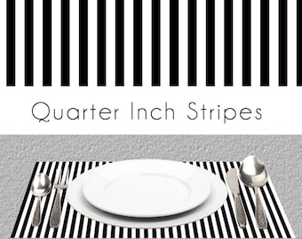 "Stripes Paper Placemats | BW Quarter Inch Stripes Book of 25 Card Stock Sheets | Size Is 17"" x 11"" inches Tear-Off Durable Paper Pad"