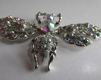 "Beautiful Aurora Borealis Butterfly Brooch 3"" Wings large Butterfly Brooch Insect Jewelry Butterfly Jewelry Dragonfly Brooch"