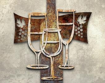 Metal Wall Art  Wine Glasses Wine Time Sculpture