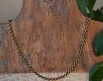 Trifari Vintage Rope Chain Necklace Gold Black