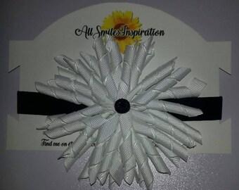 White Headband/Black Baby girl flower Headband/Hair Accessories