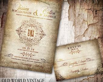 Rustic Old World Wedding Invitation and RSVP - Vintage Wedding Stationery - DIY Printable Invitations - Fancy Monogram Invitations