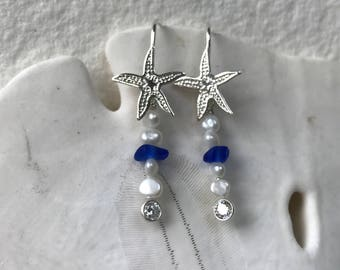 sterling silver starfish cobalt blue sea glass pearl earrings, sea glass earrings, blue sea glass earrings, bridal bridesmaid beach wedding