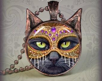 KM4 Copper Masked Black Cat pendant