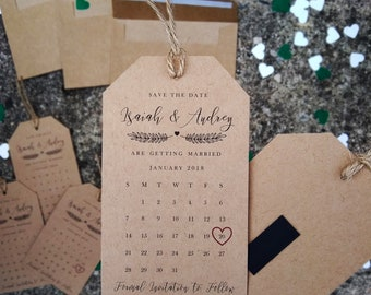 Wedding Save the Dates Tag Calendar and Envelope– Lovely, Kraft Brown, Wedding Invitation, Save the Date Magnet, High Quality, Personalized