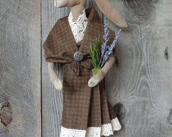 Scottish Hare Rabbit Primitive Folk  Soft Sculpture Doll  with Tartan Arisad