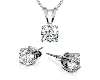 """3.00 CTW Stud Earrings and Necklace Set made with Swarovski Elements Crystals 18"""""""