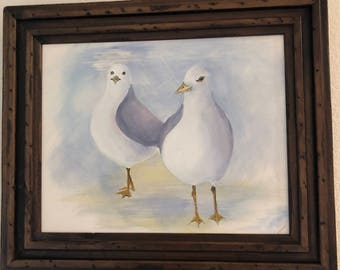"""Original Acrylic Painting """"Seagulls"""" by Cecily Emond"""