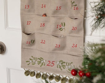 Embroidered Mistletoe Advent Calender