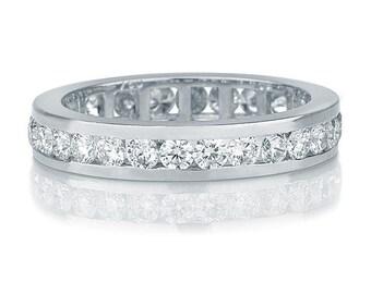 1.50 Carat Art Deco Eternity Band, 14K White Gold Wedding Ring, Diamond Wedding Band, Womens Wedding Band, Gold Wedding Ring