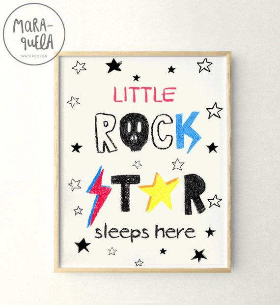 Little ROCK STAR sleeps here. Cute Baby boys room illustration. Pequeñas estrellas del rock