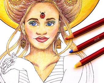 Adult Coloring Page | Girl Coloring | Girl Clip Art | Boho Coloring