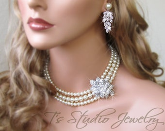 3 Strand Pearl Bridal Necklace - Ivory or White Pearl Statement Wedding Jewelry - CAROLYN