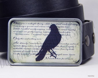 The Raven Belt Buckle Choice of Buckle Finish Poe Poem
