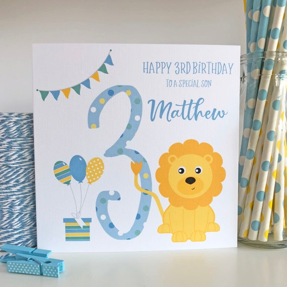 Personalised 3rd Birthday Card With Lion Son Daughter