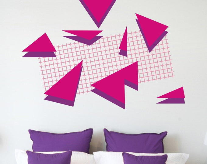 80s retro wall decal set, memphis group style, 80s art deco, geometric vinyl decals, 80s deco, vintage eighties, absract patterns