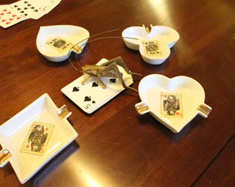 Vintage Poker Playing Cards Suits Shape Individual Ashtrays  Diamonds Hearts Clubs Spades  Man Cave Decor        Set of 4