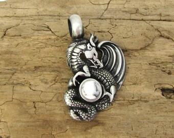 Dragon Pendant, 44x25mm Single-Sided Dragon Pendant, Fantasy Pendant, Necklace Supplies, Item 104p