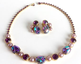 Purple Necklace Earrings Gold Set, AB Molded Glass, Violet Faceted Rhinestone, Pink Pearls, Signed Schiaparelli, Vintage 50s 60s Demi Parure