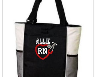 Embroidery Nurse Medical Gift Tote Bag -  Medical/Nurse/Doctor that can be personalized - please specify! Stethoscope LVN RN NICU