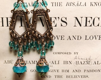 Lorena Antique Brass Vintage Style Art Nouveau Inspired Beaded Chandelier Earrings in Aqua