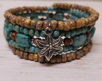 Genuine African Turquoise Multi Strand Beaded Wrap Bracelet/Natural Stone/Memory Wire/Beach Bracelet/Gift for Her/Beach Wedding/Bridal Party