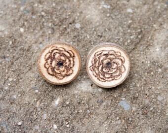 Flower Woodburning Earrings * Made to order