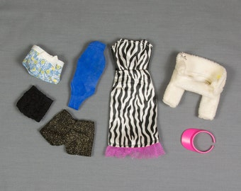 Barbie clothes, 7 pieces 3 outfits, Dress with fur jacket, Shorts and tube top, Teddie with shorts and visor, Excellent condition