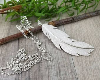 Sterling Long Feather Necklace / Long Silver Necklace / Hand Forged Feather /  Angel Wing