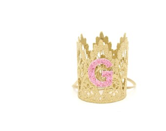 Small breed pet crown with glitter initial    gold + pink
