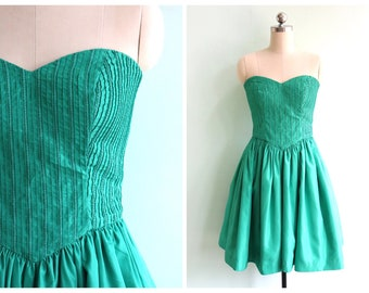 Vintage 1980's Teal Strapless Party Dress | Size Extra Small