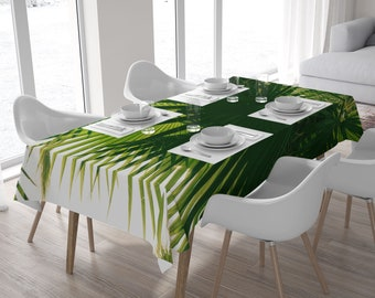 Tropical tablecloth, Palm leaves, Green tablecloth, Square or rectangle tablecloth, kitchen decor, Home decor, Large table cloth. MG057